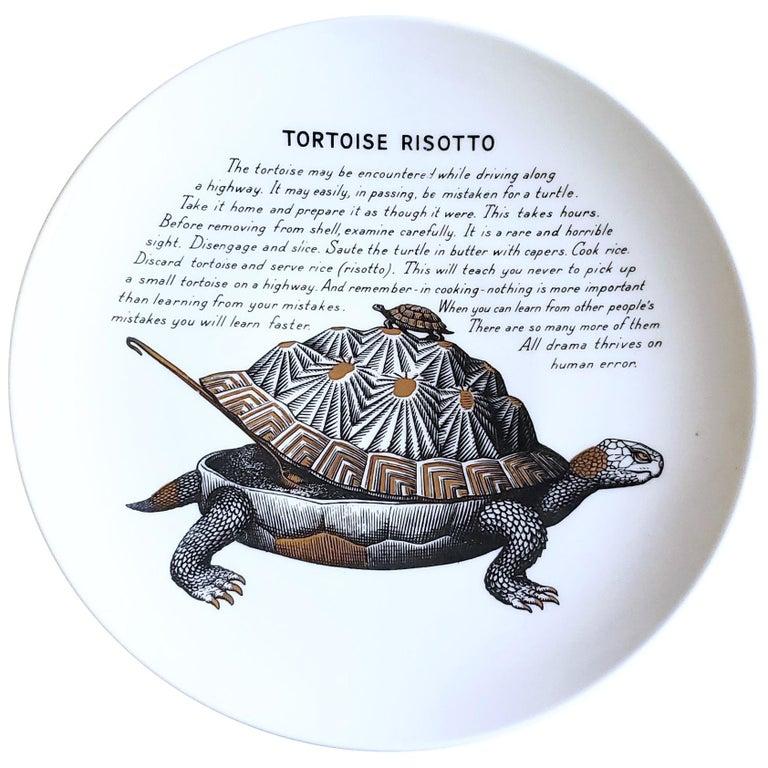 Piero Fornasetti Fleming Joffe Porcelain Recipe Plate, Tortoise Risotto, 1960s For Sale