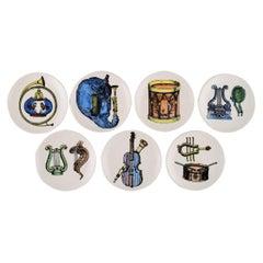 Piero Fornasetti for Bucciarelli, Seven Unique Musica d'Orchestra Bottle Trays