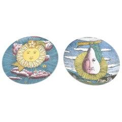 Pair of Piero Fornasetti for Rosenthal Mesi and Soli Porcelain Pates