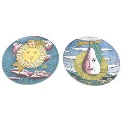 Piero Fornasetti for Rosenthal Mesi and Soli Porcelain Pates Vintage Pair of
