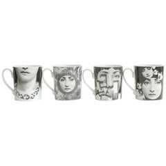 Piero Fornasetti for Rosenthal Porcelain Coffee or Tea Mugs Vintage