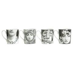 Piero Fornasetti for Rosenthal Porcelain Coffee or Tea Mugs Vintage