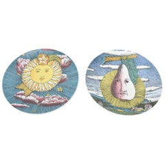 Pair of Piero Fornasetti for Rosenthal Porcelain Mesi and Soli Painted Plates