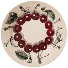Piero Fornasetti Fruit Plate with Cherries, Sezioni Di Frutta, Dated 1952