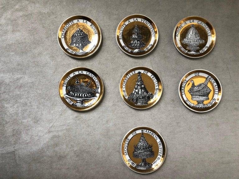 Piero Fornasetti Gilded Porcelain Coaster Set, French Cuisine from 1950 For Sale 13