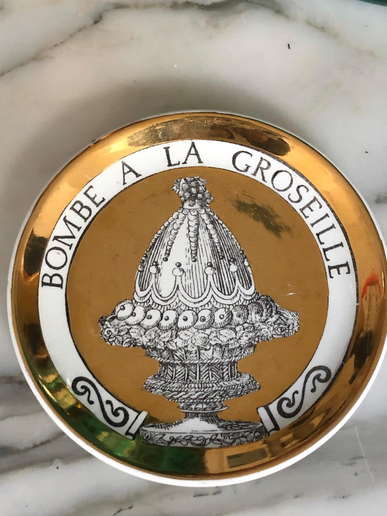 Piero Fornasetti Gilded Porcelain Coaster Set, French Cuisine from 1950 For Sale 1