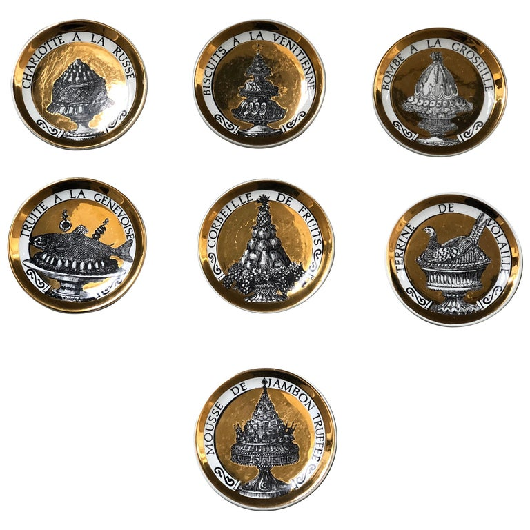 Piero Fornasetti Gilded Porcelain Coaster Set, French Cuisine from 1950 For Sale