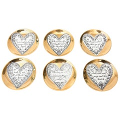 Piero Fornasetti Gilded Porcelain LOVE Heart Coasters Barware, Set of 6