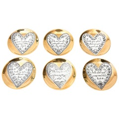 Piero Fornasetti Gilded Porcelain LOVE Heart Coasters Barware Set of 6 Vintage