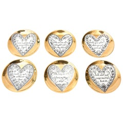 Piero Fornasetti Gilded Porcelain Love Heart Coasters Barware Set of 6 Vintage