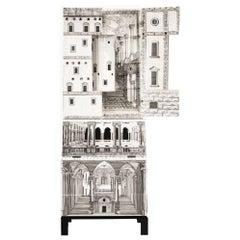 Piero Fornasetti Gio Ponti Architettura Trumeau Secretary Bookcase Cabinet, 1951