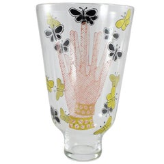 Piero Fornasetti Glass Vase Titled 'Mani Con Farfalle', Hands with Butterflies