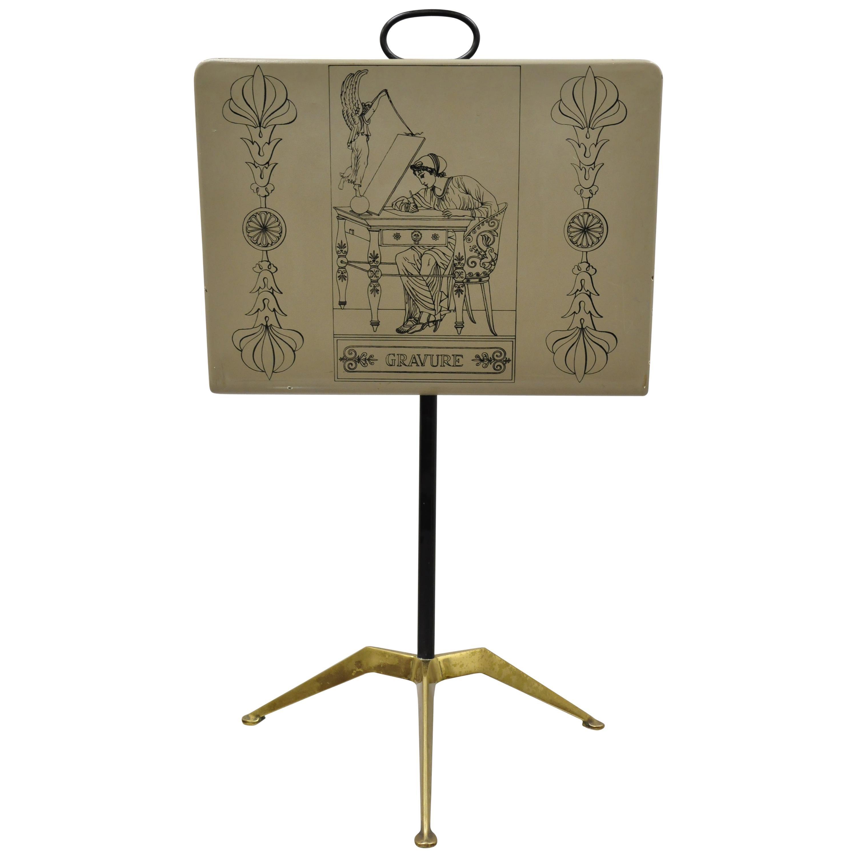 Piero Fornasetti Gravure Italian Mid-Century Modern Magazine Rack Brass Stand