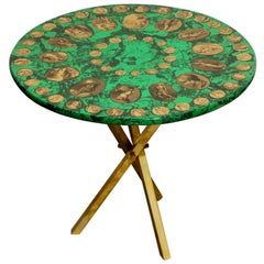Piero Fornasetti Green and Gold 'Cammei' Side Table, circa 1970s, Signed