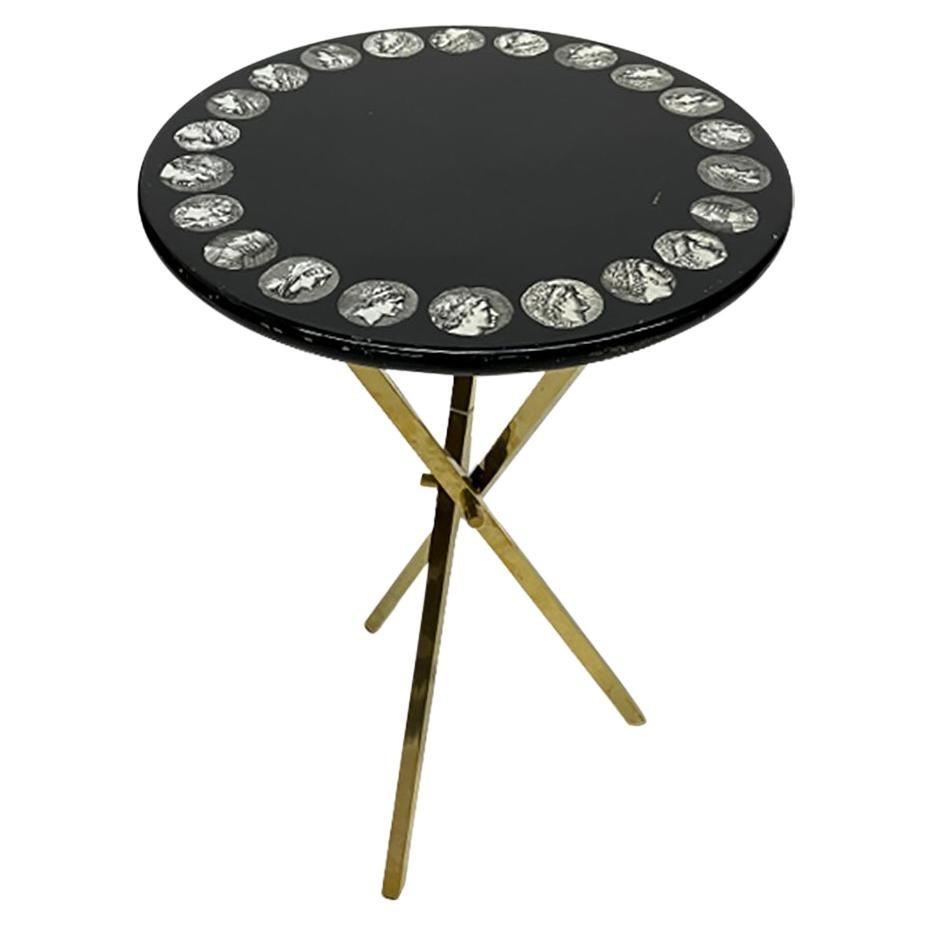 Piero Fornasetti Italian Black Side Table, 1960s