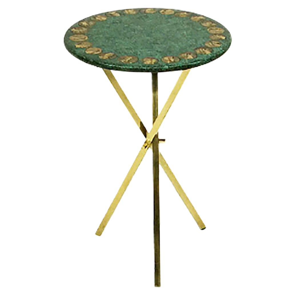 Piero Fornasetti Italian Green Side Table, 1960s