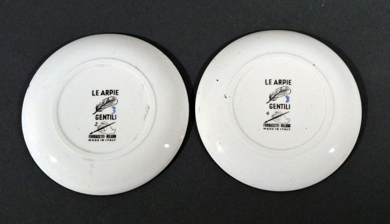 Ceramic Piero Fornasetti Le Arpie Gentili Coaster Set and Box, circa 1960 For Sale