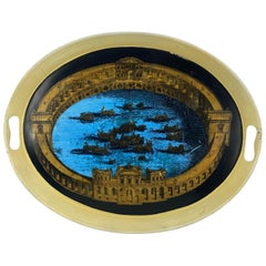 Piero Fornasetti Metal Colosseum Naval Battle Tray, Early 1950s