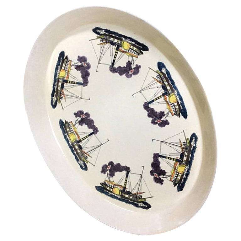 Piero Fornasetti Metal Steamboat Tray, Early 1950s For Sale