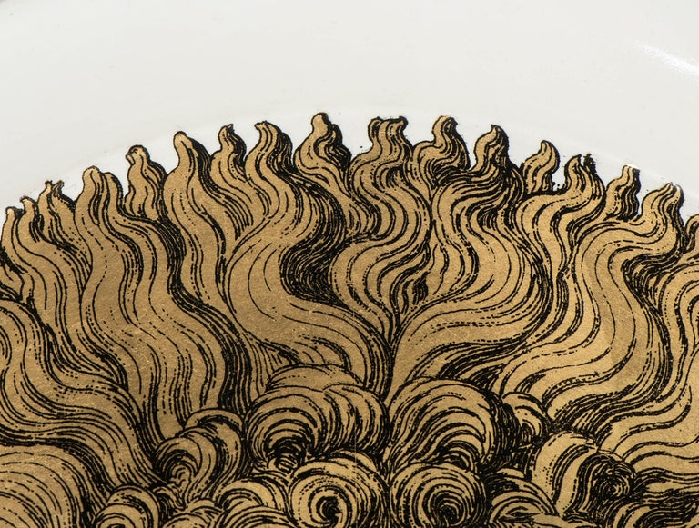 "Mid-20th Century Piero Fornasetti Metal Tray ""Sole"", Italy, circa 1960 For Sale"