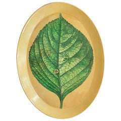 Piero Fornasetti Metal Tray with Leaf Decoration ca' 1950's