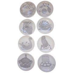 Piero Fornasetti Midcentury Set of Eight Coasters Small Plates, Milano, 1960s