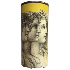 Piero Fornasetti Midcentury Yellow Umbrella Stand with Figures, 1950