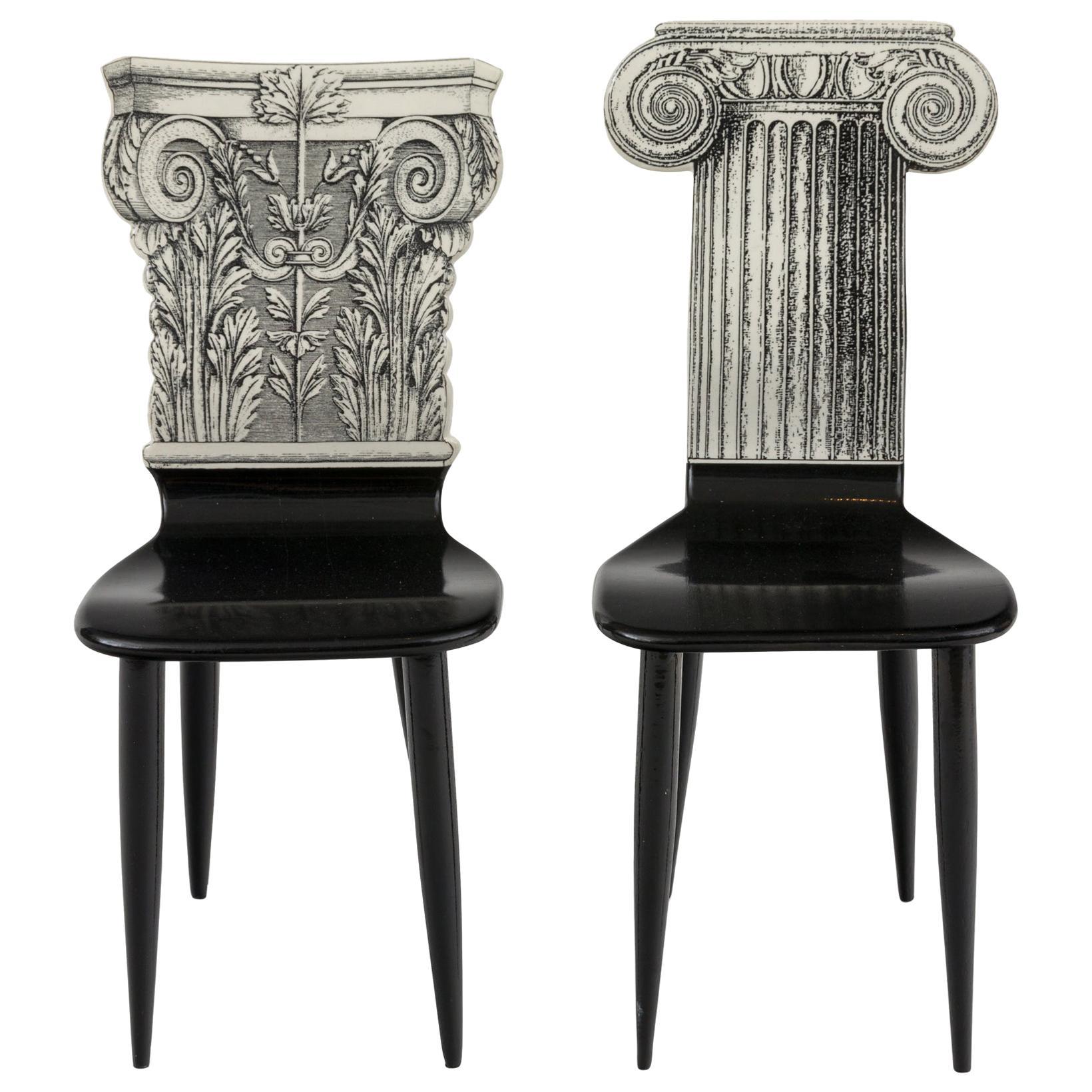 """Piero Fornasetti Miniature """"Capitello Ionico & Corinzio"""" Chairs, Italy, 2000s"""