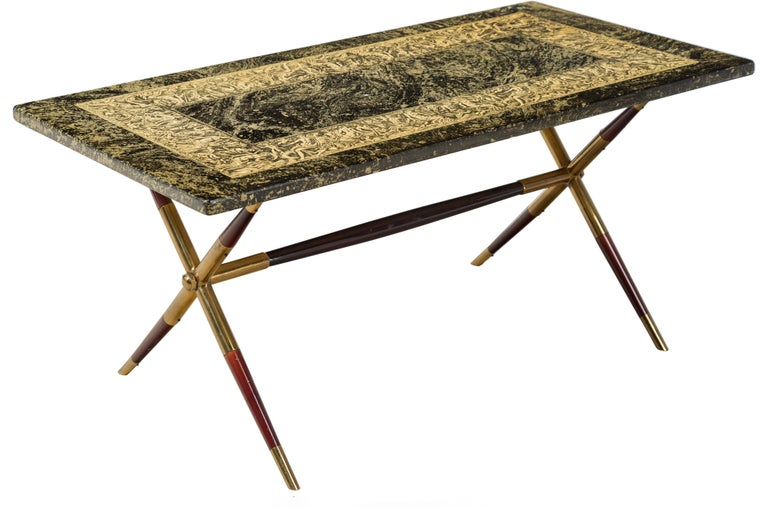 Piero Fornasetti Neoclassical Bordo Bassorilievo Pattern Coffee Table For Sale 3