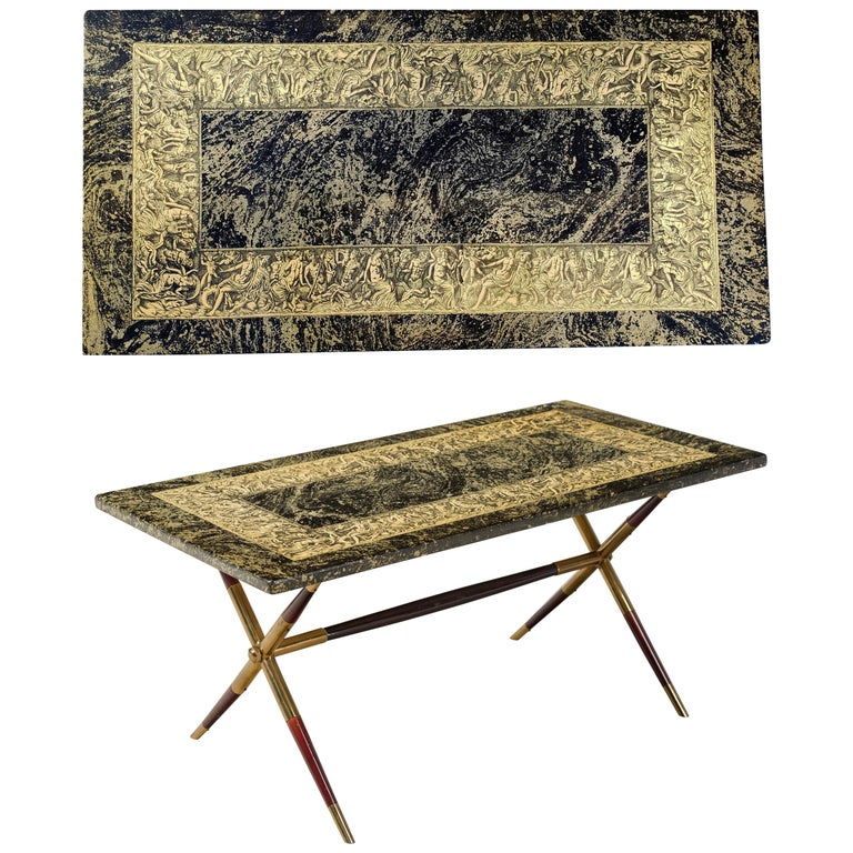 Piero Fornasetti Neoclassical Bordo Bassorilievo Pattern Coffee Table For Sale