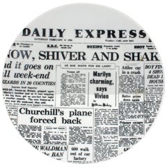 Piero Fornasetti Newspaper Plate, Daily Express, Giornali 'Newspapers', 1950s