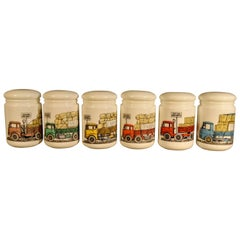 Piero Fornasetti Opaque White Glass Food Jars and Covers Made for Fiat