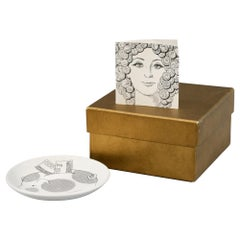 Piero Fornasetti Original Boxed Set of Eight Banca Unione Advertising Coasters
