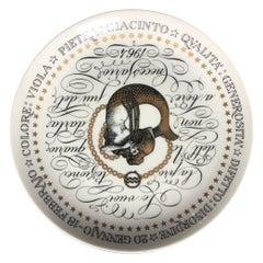 Piero Fornasetti Plate Aquarius Zodiac Sign Porcelain 1964, Italy