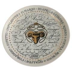 Piero Fornasetti Plate Aries Zodiac Sign Porcelain 1966, Italy