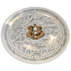 Piero Fornasetti Plate Gemini Zodiac Sign 1968 Porcelain, Italy