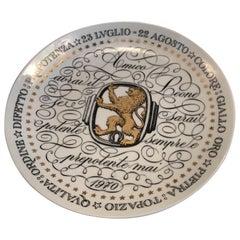 Piero Fornasetti Plate Leo Zodiac Sign Porcelain, 1970