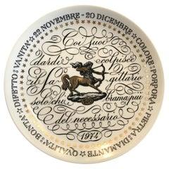 Piero Fornasetti Plate Sagitarius Zodiac Sign Porcelain 1973 Italy