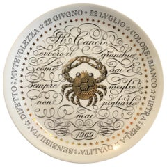 Piero Fornasetti Plate Zodiac Sign Cancer Porcelain 1969, Italy