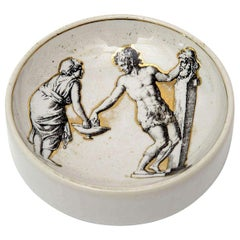 Piero Fornasetti Porcelain and Gold Round Bowl or Dish Vintage