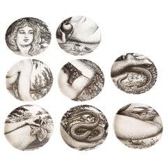 Piero Fornasetti Porcelain Black and White Eve Coasters Vintage S/8 Barware