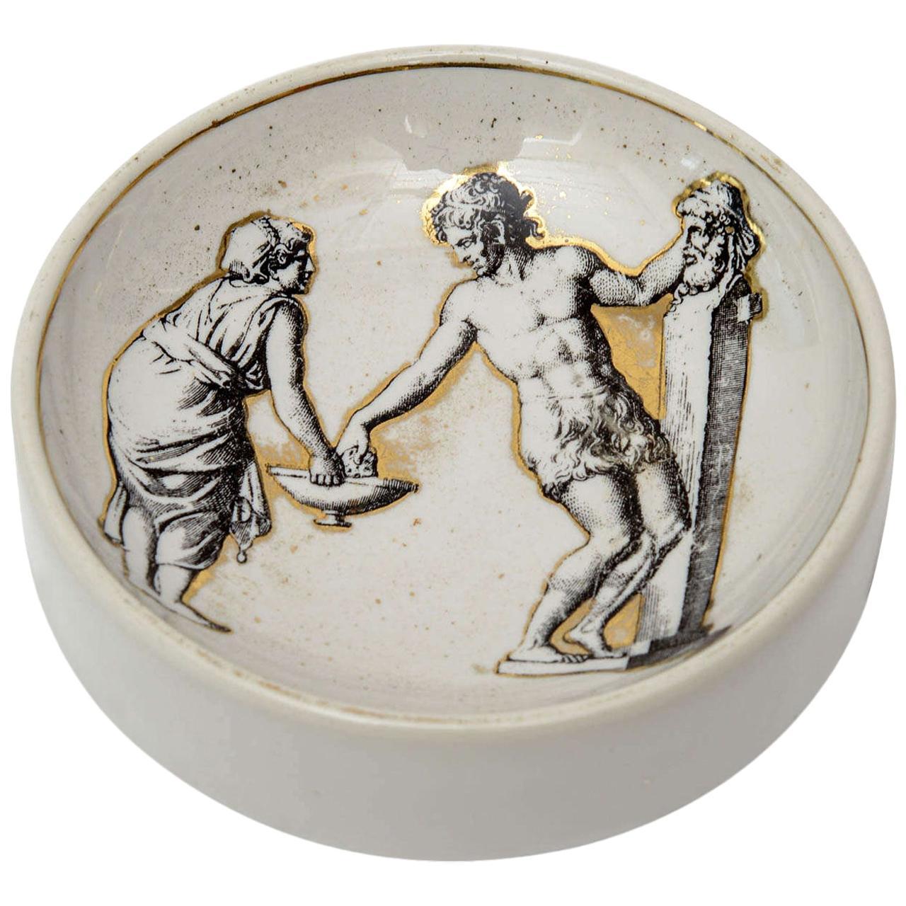Piero Fornasetti Porcelain Bowl Mid-Century Modern