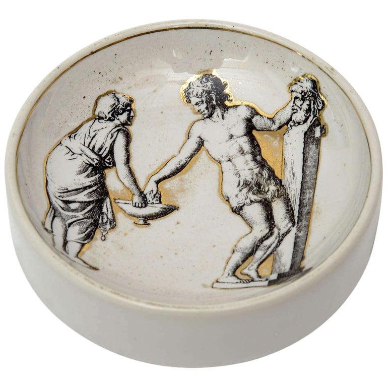 Piero Fornasetti Porcelain Bowl Mid-Century Modern For Sale