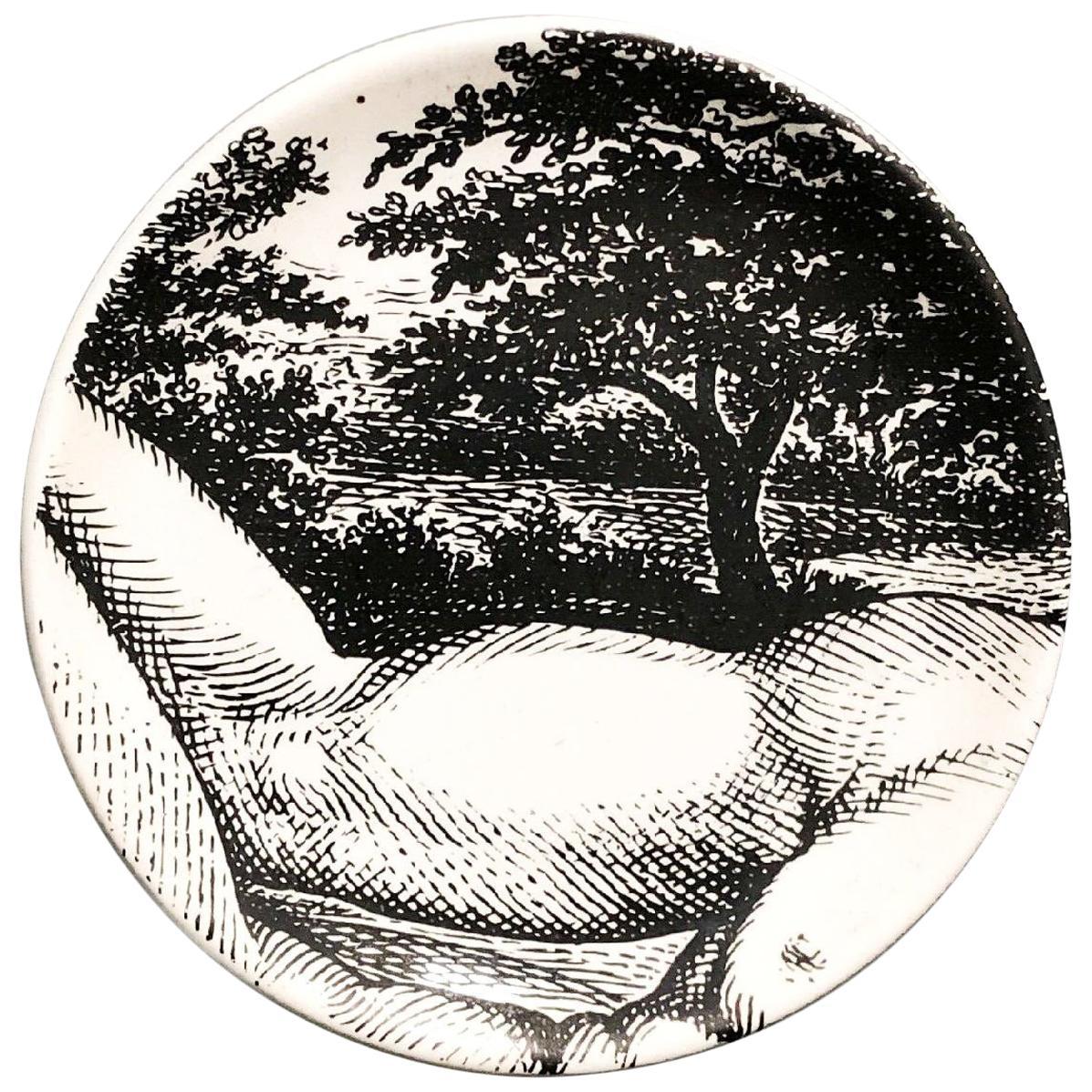 "Piero Fornasetti Porcelain Coaster Reclining ""Adam"" 2 of 8, 1965, Mid-century"