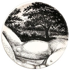 "Piero Fornasetti Porcelain Coaster Reclining ""Adam"" 2 of 8, 1965, Mid-century"
