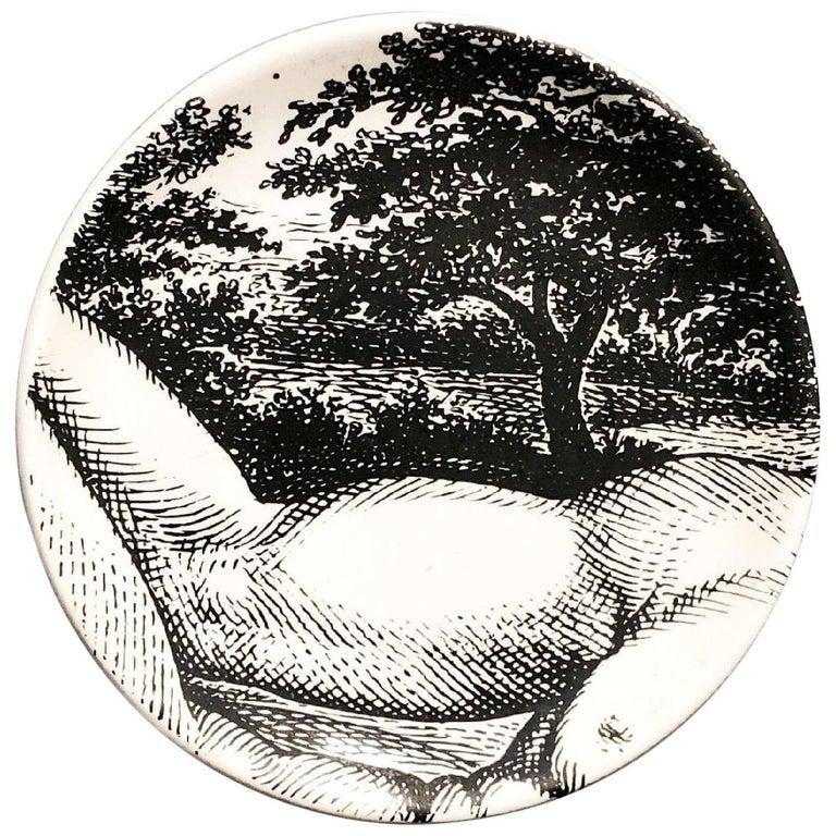 "Piero Fornasetti Porcelain Coaster Reclining ""Adam"" 2 of 8, 1965, Mid-century  For Sale"
