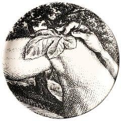 "Piero Fornasetti Porcelain Coaster Reclining ""Adam"" 3 of 8, 1965, Mid-century"