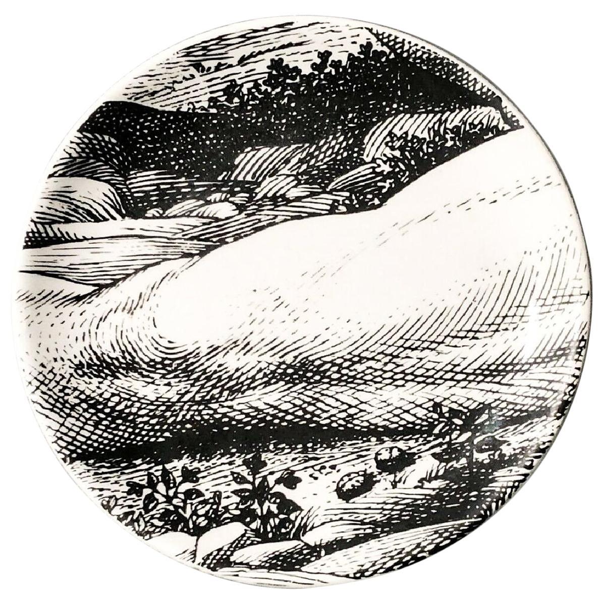 "Piero Fornasetti Porcelain Coaster Reclining ""Adam"" 7 of 8, 1965, Mid-century"