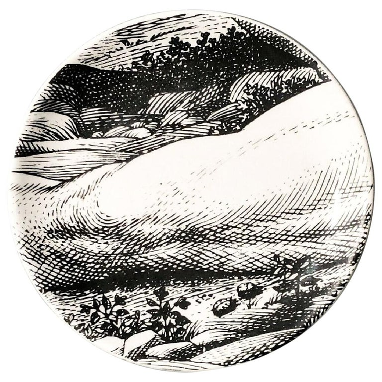 "Piero Fornasetti Porcelain Coaster Reclining ""Adam"" 7 of 8, 1965, Mid-century  For Sale"