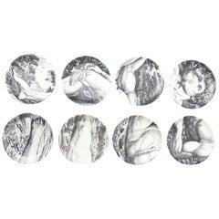 "Piero Fornasetti Porcelain Coasters ""Adam"" Set of 8 / Barware"